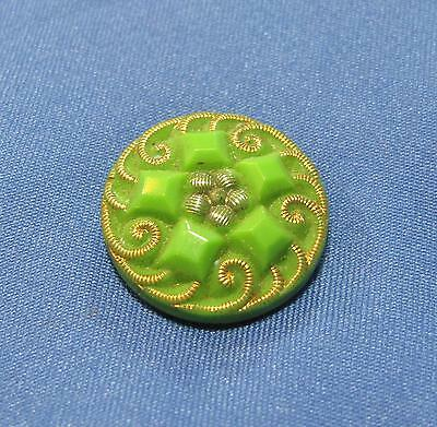 Vtg Green Goldtone Scroll Border Silvertone Flower Center Small Plastic Button