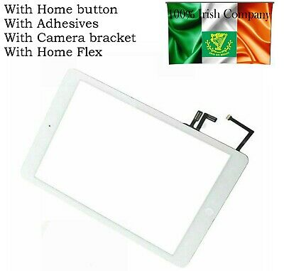 For iPad Air 1st 1 Gen Touch Screen Digitizer Glass White + Home Button Adhesive