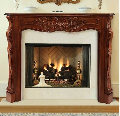 Deauville traditional hand-carved Fireplace Mantel. Pick size, finish