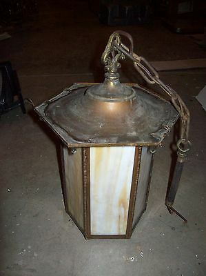 Brass stained glass pennant light  (LT 140)