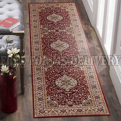 VALENTI MEDALLION RED TRADITIONAL FLOOR RUG RUNNER 80x400cm **FREE DELIVERY**