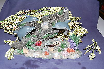 """Resin """"Dolphins Shipwrecked"""" Figurine by Coastal Collection IN BOX"""