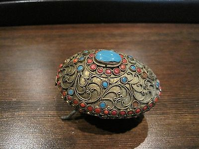 Vintage Antique Gilded brass Turquoise Coral jeweled Covered ashtray