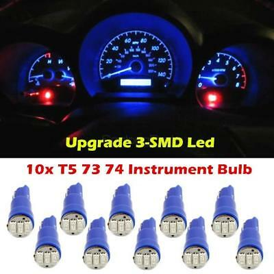 10x T5 74 70 73 3-SMD Car LED Instrument Gauge Dash 12V Light Bulb Blue for GMC