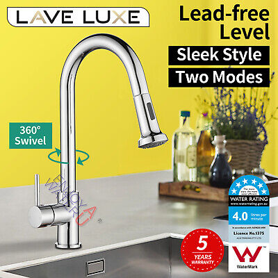 Watermark Gooseneck Kitchen Mixer Tap Faucet Pull Out Shower Spray Brass AU WELS