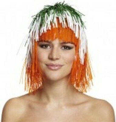 Fun Tinsel Wig - Green, White & Orange - St Patrick's Day (MI230)