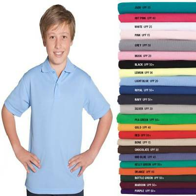 Kids Polo Shirt Boys Girls Children Size 4 6 8 10 12 14 Casual Easy Care New 2KP