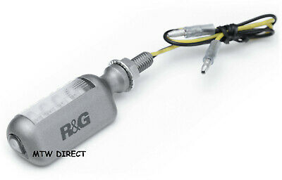 Motorcycle R&G Racing  Aero Style Micro Led Indicators Silver Body - One Pair