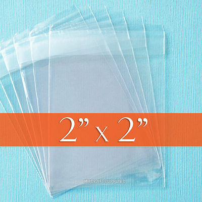 "100 Clear 2"" x 2"" inch Square Cello Bags,Resealable Adhesive OPP Poly Cellophane"