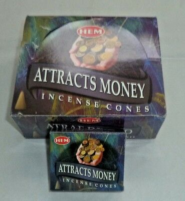 Hem Attracts Money Incense Cones, 12 Pack of 10 Cones, 120 Total! (Attract)