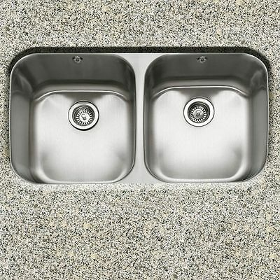 "Great Deal-32"" Undermount Dbl Bowl Kitchen Sink with 2 free strainers #3219AD-9"