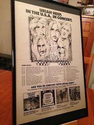 BIG 11X17 FRAMED URIAH HEEP 1972 CONCERTS LP ALBUM CD PROMO AD with TOUR DATES!