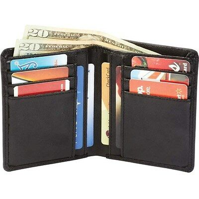 Mens Bifold Genuine Leather ID Wallet, Solid Black Thin Pocket Card Bills Holder