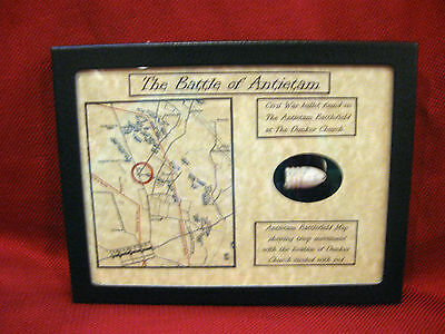 Battle of Antietam Dunker Church Dropped Bullet in Matted Display Case with COA