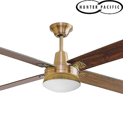 """HUNTER PACIFIC TYPHOON TIMBER 52"""" 1300mm CEILING FAN WITH LIGHT - ANTIQUE BRASS"""