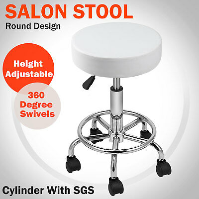 Salon Stool Hairdressing Chair Barber Beauty Swivel Hydraulic Lift Round White