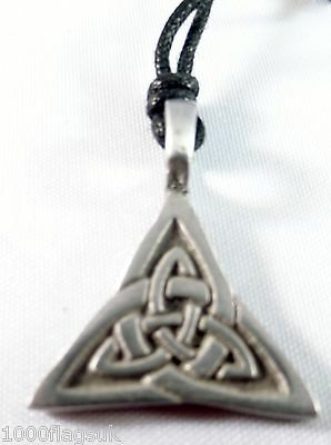Celtic Cross Interlaced Triangle Pewter Pendant p702 *
