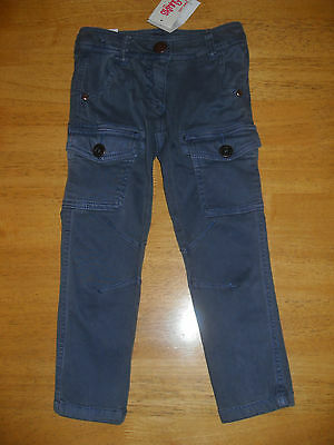 Next Girl's Blue Stretch Skinny Cargo Trousers, Age 3 Years, BNWT