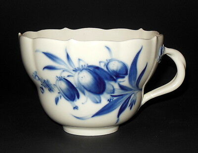 Unusual Vintage Large Oversized Meissen Coffee Cup w Handle Blue & White Florals