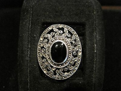 Large VIntage ART DECO Marcasite Onyx Sterling Silver Womens Ring size 5