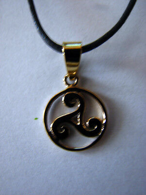 BRONZE Celtic TRISKELE of The SACRED THREE Pendant Wicca Pagan Necklace