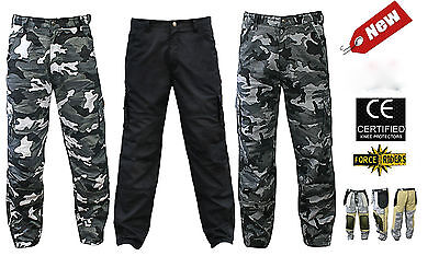 Men's motorbike motorcycle cargo camouflage trousers with protective lining