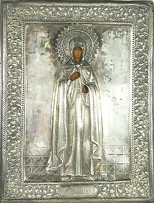 Antique Russian Icon  St. Anna  84 Silver Hand Painted