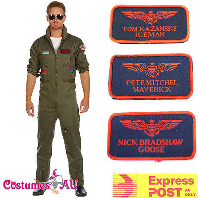 Top Gun Mens Aviator Costume Pilot Flighter 80s Film Suits 1980s 3 name tags