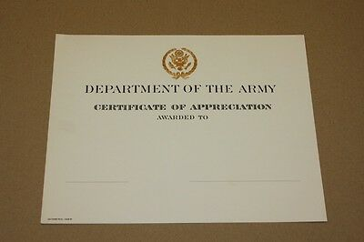 Urkunde Certificate of  Appreciation US Army