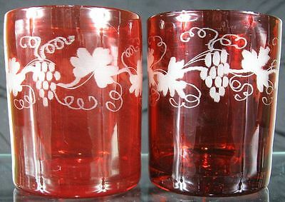 2 Colonial 1800's Pontiled Cranberry Glass Wine Tumblers With Cut Grapes