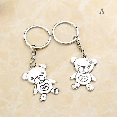 "KC001A Valentine's Lover Gift ""Love You"" Twin Bears Romantic Key Chain Keychain"