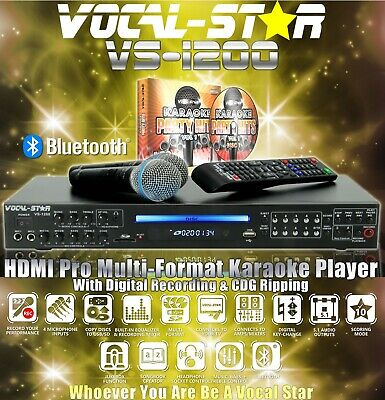 Vocal-Star Vs-800 Cdg Dvd Bluetooth Karaoke Machine 2 Microphones & 150 Songs