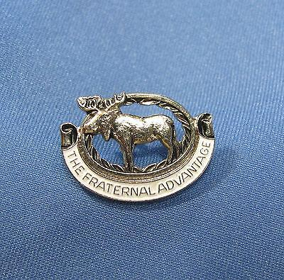 Moose The Fraternal Advantage White Enamel Silvertone Lapel Clutch Pin Pinback