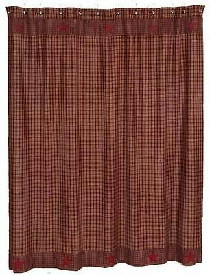 Country Primitive Burgundy Applique Star Shower Curtain