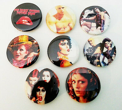 8 piece lot of The Rocky Horror Picture Show pins buttons badges