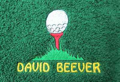 Golf Tee & Ball Embroidered Personalised Golf Towel Birthday Christmas