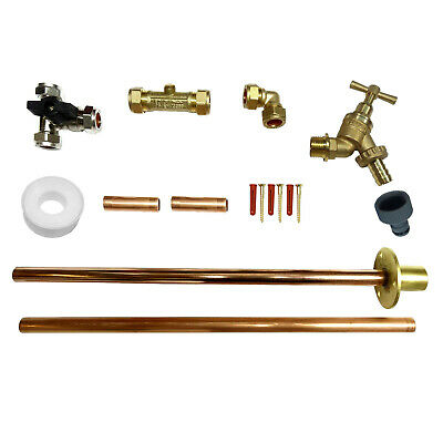 Outside Tap Kit With Through Wall Flange, Tee Valve, Liners, Flexible Connector