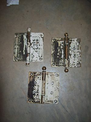 Brass decorative eastlake hinges 3 matching