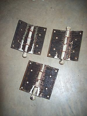 Iron  decorative eastlake hinges 3 matching