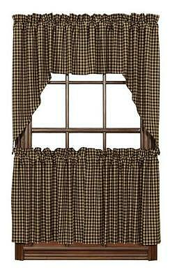 """COUNTRY PRIMITIVE BLACK CHECK TIER LINED CURTAINS 36"""" X 36"""" SET OF 2"""
