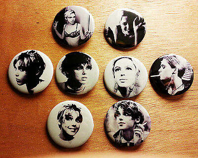 8 piece lot of Edie Sedgwick pins buttons badges