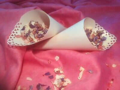 50 X Confetti Cones  Pearly Ivory -Hearts-
