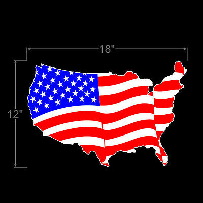 """American Flag United States Shape LARGE USA Durable! 18""""x12"""" Vinyl Decal Sticker"""