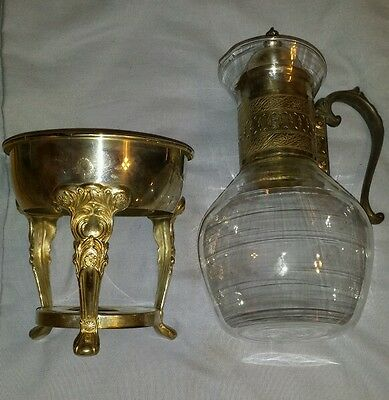Vintage Sheridan Silver Plated  Glass Pitcher and Stand carafe and warmer