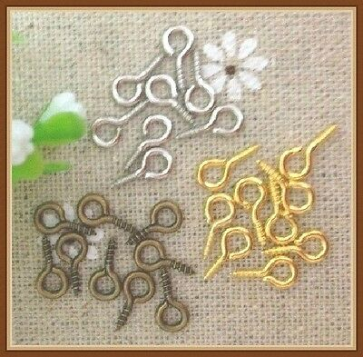 100Pcs Screw Eye Pins 8mm,9mm,10mm ,13mm,15mm 4 colors for jewelry finding