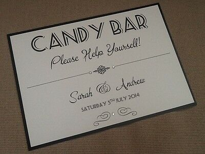 Handmade Personalised Vintage Art Deco Candy Buffet Love is Sweet Treats Sign