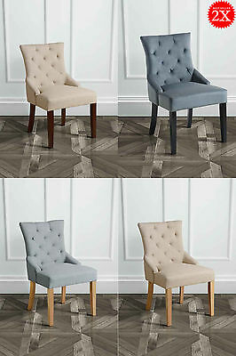 SET of  2 High Quality Upholstered Scoop Back Dining Chairs TORINO My-Furniture