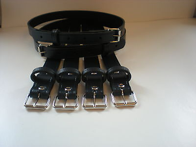 Vintage pram real leather suspension straps in navy blue