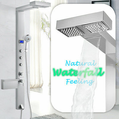 "59"" Stainless Steel Rain Waterfall Shower Panel Tower Overhead Massage Tub Spout"
