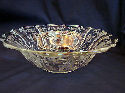 Old ca. 1939 Fostoria Shirley Ptn Etched 12inch Flared Bowl, Excellent Condition